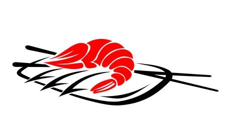 Camarón de mariscos con arroz y palillos para el diseño del restaurante japon Ilustración de vector
