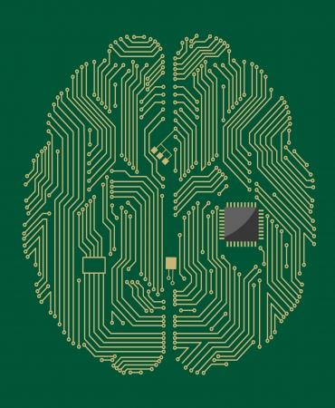 circuitos electricos: Madre del cerebro en fondo verde para el concepto de tecnolog�a