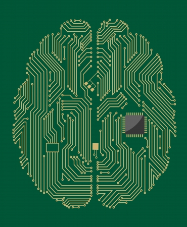 processors: Motherboard brain on green background for technology concept Illustration