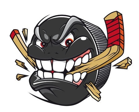 Cartoon hockey puck bites and breaks hockey stick Vector