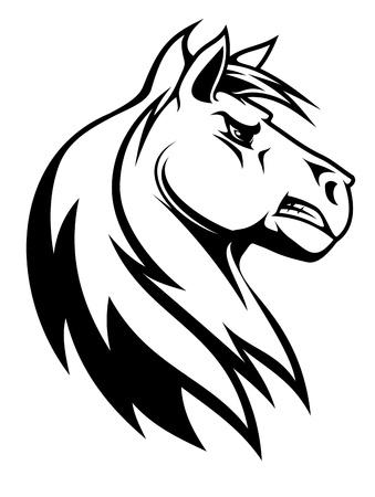 merrie: Silhouet van wit paard voor de paardensport ontwerp