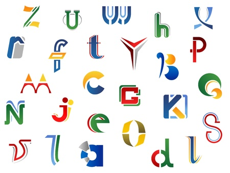 Set of full alphabet letters and icons for alphabet design Vector