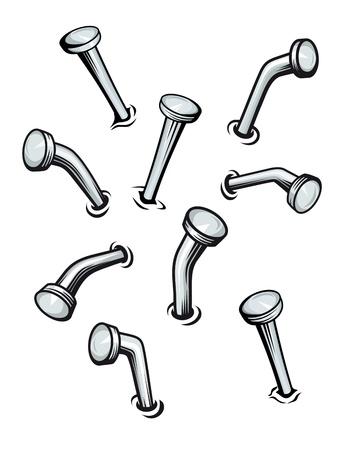 Setzen von Nägeln an der Wand im Cartoon-Stil