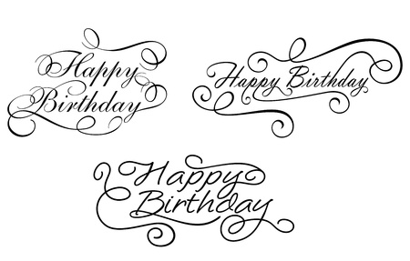 inscriptions: Happy birthday calligraphic embellishments set for holiday design