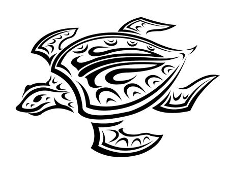 Underwater turtle in tribal style for tattoo or mascot design Vector