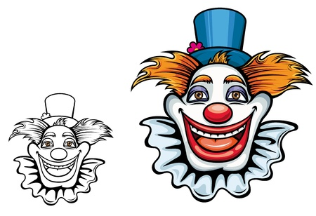 buffoon: Cartoon smiling circus clown in hat for entertainment design