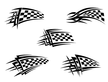 sports race emblem: Set of chequer racing flags in tribal style