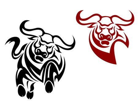 Bull and buffalo mascots isolated on white background Vector