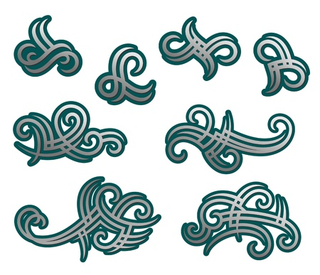 Tribal tracery elements and embellishments for tattoo design Vector