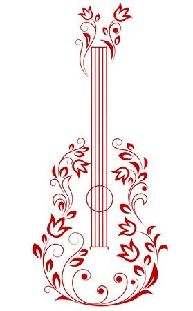 acustica: Chitarra con elementi floreali per l'arte o di design musicale