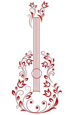 Guitar with floral elements for art or musical design Vector