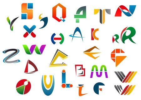 Set of alphabet symbols and icons from A to Z Vector