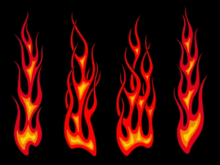 Set of long tribal fire flames for tattoo drawing
