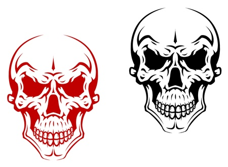 Human skull for horror or halloween design Vector