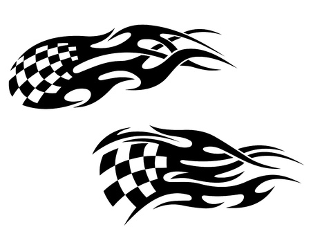 chequer: Chequered flag with black flames as a racing tattoo