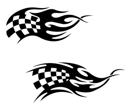 d�part course: Drapeau � damier avec des flammes noires comme une course de motocross ou de tatouage