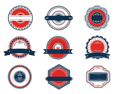 Retro blue and red labels set for sticker, tag, emblem or banner design Stock Vector - 14569017