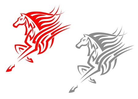 racehorse: Horse mascots in tribal style for tattoo or emblem design