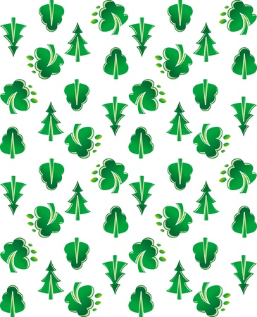 Green tree seamless background for wallpaper design Vector