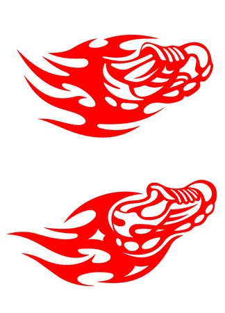 athletic symbol: Trainers with tribal flames for sports tattoo design