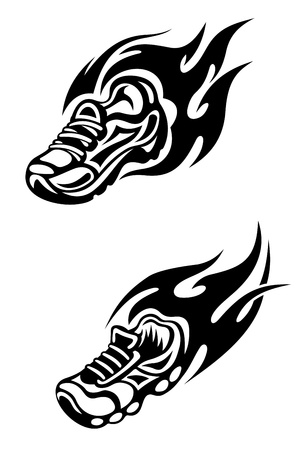 Trainers with tribal flames as a sports tattoo or mascot Vector
