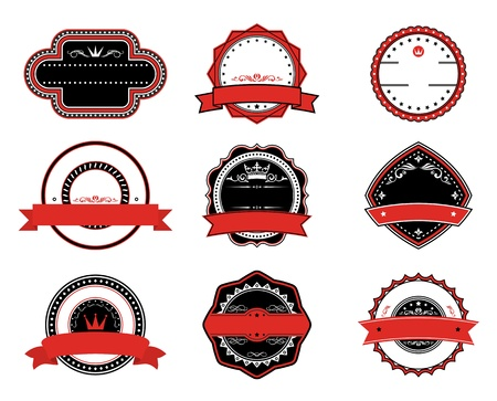 Retro quality labels in black and red colors fot tags, signs or emblems design Vector