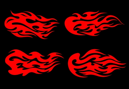 Set of fire flames in tribal style for tattoo design Vector