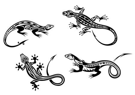 Reptiles Lagarto establecido en el estilo trbal de diseño del tatuaje o la mascota Ilustración de vector