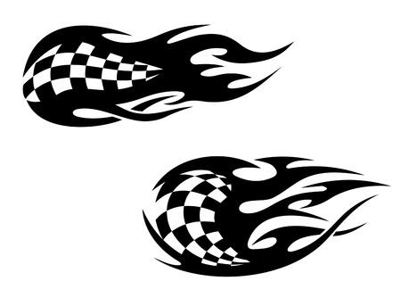 d�part course: Racing drapeau avec des flammes comme un tatouage de sport de course Illustration