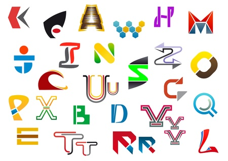 r p m: Colorful letter symbols and icons from A to Z Illustration