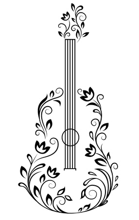 stencil flower: Guitar with floral details for entertainment design Illustration