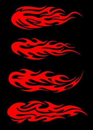 Burning tribal flames set for tattoo design Vector
