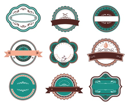 Retro food labels and emblems with embellishments