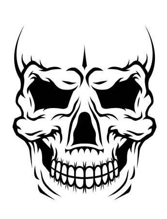 Danger human skull for death concept or tattoo