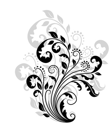 scroll shape: Floral pattern with reflection for ornate and decoration