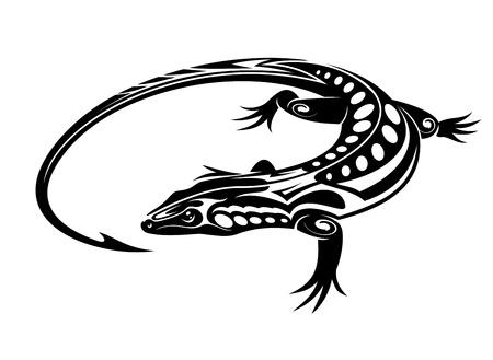 salamander: Lucertola iguana nera in stile tribale isolato su sfondo bianco