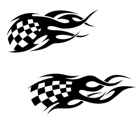 schwarz weiss kariert: Tattoos mit checkuered Flagge in tribal style