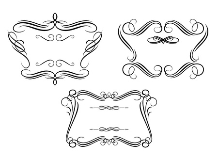paper scroll: Retro frames set with decorative and calligraphic elements