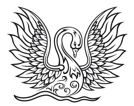 cisnes: Elegante ave cisne en el estilo de tracería vintage para la paz o el concepto de belleza Vectores