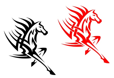 steed: Tribal  stallion for mascot or tattoo design Illustration