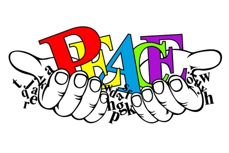peace and love: Color and black letters in hands for peace concept design