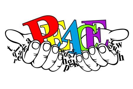 simbolo de paz: De color negro y letras en las manos para el dise�o de la paz concepto