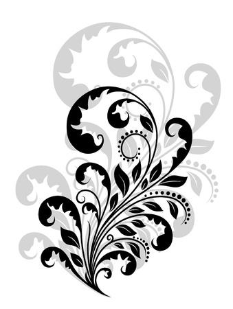Vintage floral embellishment and element for retro design