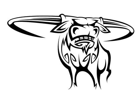 Wild gehoornde buffels in cartoon stijl voor mascotte ontwerp