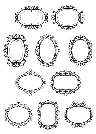 embellishments: Set of retro frames with embellishments and decorative elements