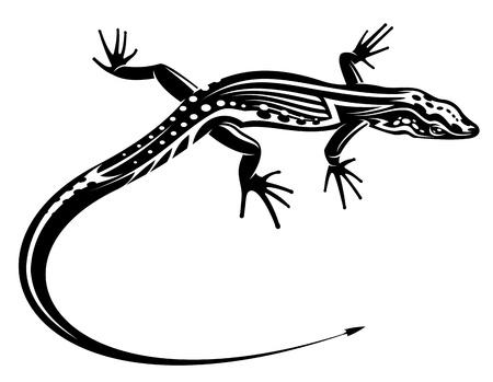 salamandre: L�zard noir avec ornement d�coratif naturel pour le tatouage Illustration