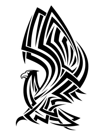 Powerful eagle in tribal style for heraldry design Illustration