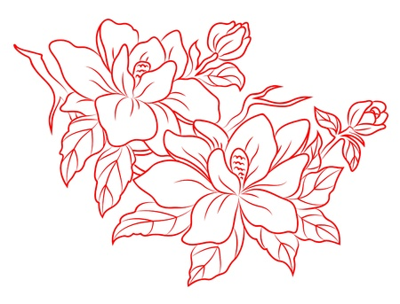 Flowers in chinese retro style for embellish design