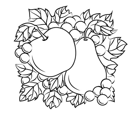 Fruits decoration with apple, pear and grape in retro drawing style Vector