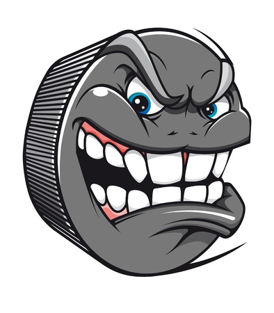 Angry hockey puck mascot in cartoon style Vector